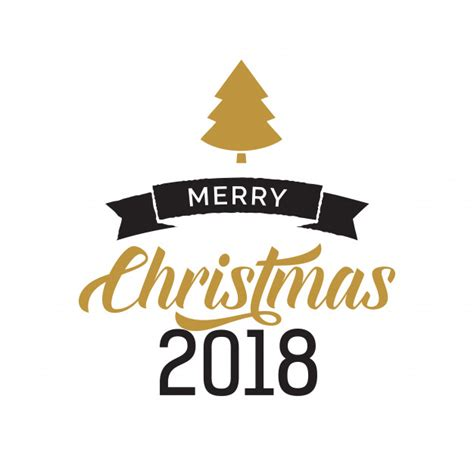 merry christmas 2018 calligraphy with tree vector free download