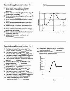Potential Energy Diagram Worksheet Part I