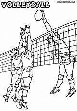 Volleyball Coloring Pages Play sketch template