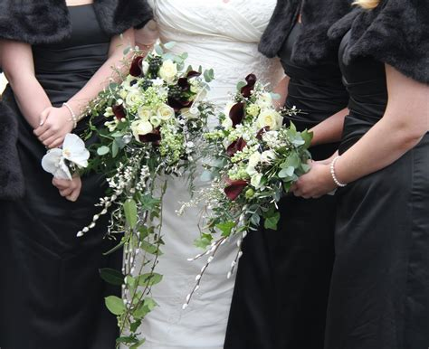 The Flower Magician Black And White Cascade Wedding Bouquet