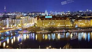 Panoramic View Of Prague Cityscape At Night Stock video ...