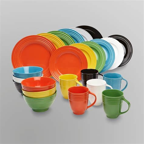 multi colored dishes dinnerware set 16pc red yellow blue green black white 4 cups bowls mugs plates ebay