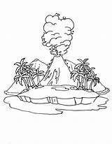 Volcano Coloring Active Drawing Island Diagram Getdrawings sketch template