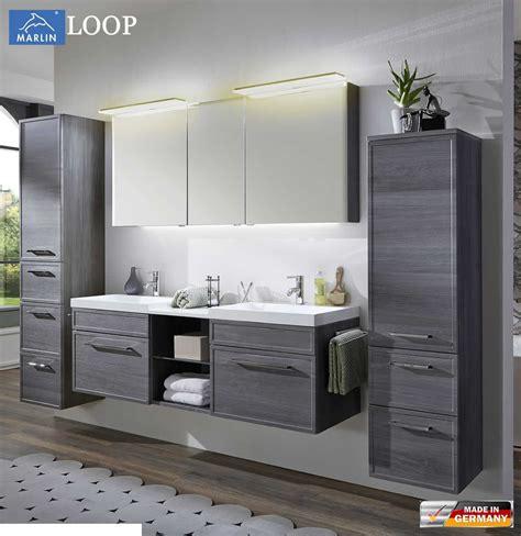 spiegelschrank mit schiebetür marlin loop badm 246 bel set 160 cm mit led spiegelschrank doppelwaschtisch rahmenoptik v3 1