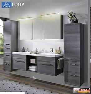 Badmöbel Set Modern : marlin loop badm bel set 160 cm mit led spiegelschrank doppelwaschtisch rahmenoptik v3 1 ~ Indierocktalk.com Haus und Dekorationen