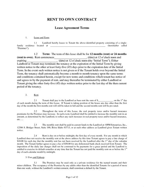Rent To Buy Contract Template by 4 Rent To Own Contract Slereport Template Document