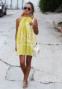 Love this for summer! short yellow dress sunglasses shoulder bag white women clothing outfit ...