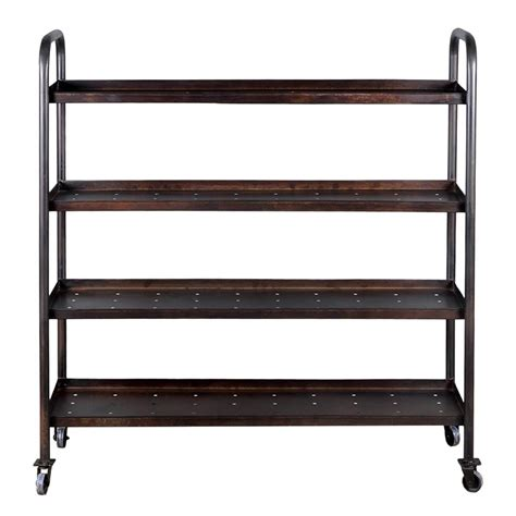 industrial black 4 shelf open back iron rolling cart