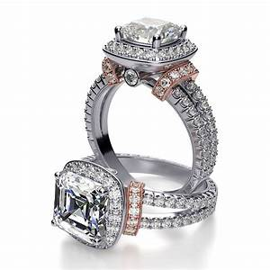 Halo split shank shoulder pave diamond engagement ring for Wedding ring catalogs by mail