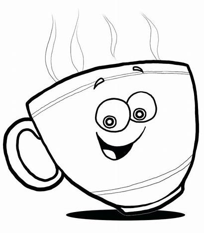 Teacup Drawing Line Cup Tea Coloring Getdrawings