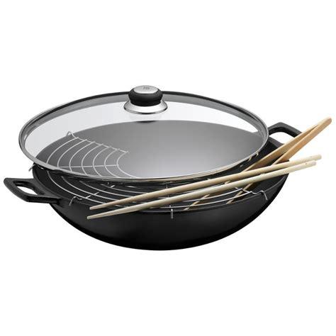 wok pfanne wmf wmf wok 36 cm gusseisen 4 tlg mit glasdeckel induktion wokpfanne 0571354290 ebay