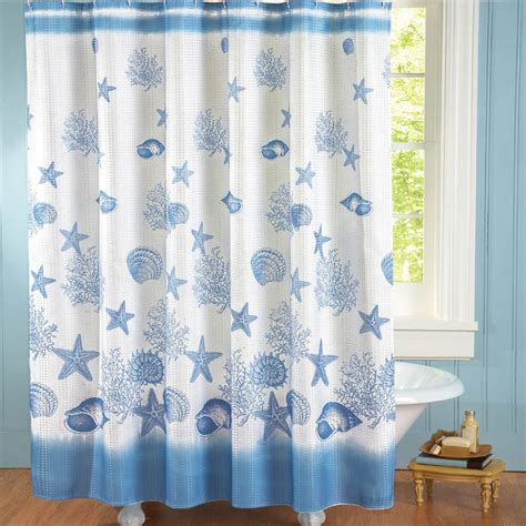 Coastal Shower Curtain by Coastal Bay Shower Curtain White Blue Seashells Polyester