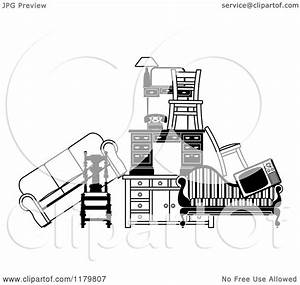 Clipart Of A Pile Of Black And White Furniture