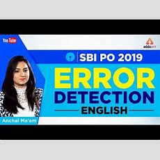 Sbi Po 2019  Error Detection  English  Sbi 2019 Youtube