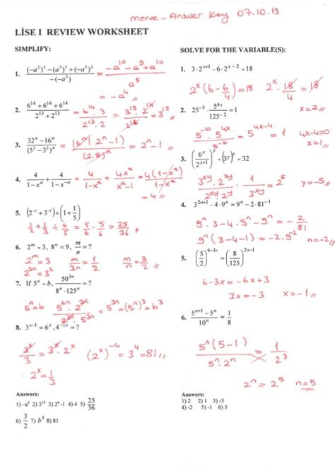 Review Worksheet Of Exponents With Answers