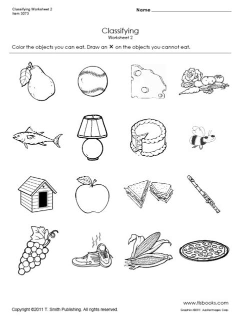 food sorting worksheet kindergarten my food