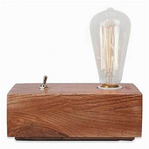 Retro Lampe Holz : lampe de chevet edison bloc de bois de style vintage cult furniture ~ Indierocktalk.com Haus und Dekorationen