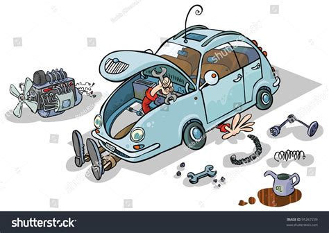 Cartoon Illustration Car Repairs Stock Vector 95267239