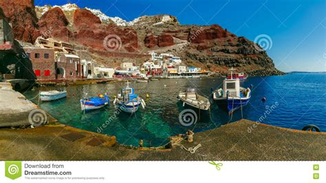 Port Amoudi Of Oia Or Ia Santorini Greece Stock Photo