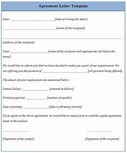 agreement letter template of agreement letter sample With free letter of agreement