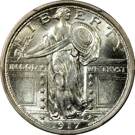 liberty quarter 1917 25c type 1 standing liberty quarter pcgs ms64fh ebay