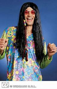 Hippie Gent Long Black Hair Wig 6202R Gnt Bk Wigs And