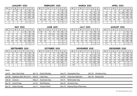 yearly calendar  germany holidays