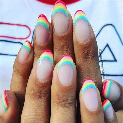 French Manicure Rainbow Tip Stunning Idea Nails