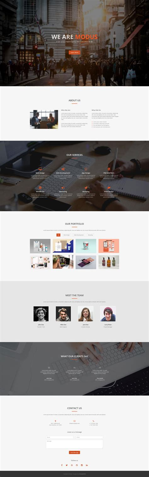 bootstrap single page template modus free one page bootstrap template bootstrap templates