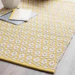 Tapis En Coton : tapis en coton jaune 60 x 90 cm leiria maisons du monde ~ Nature-et-papiers.com Idées de Décoration