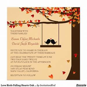 love birds falling hearts oak tree wedding invite autumn With michaels fall wedding invitations