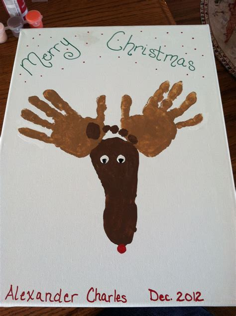 Reindeer Hand And Footprint Craft Holiday Holiday