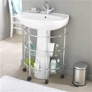 Etagere Sous Lavabo : une petite tag re de rangement sous lavabo dans la salle de bain ~ Teatrodelosmanantiales.com Idées de Décoration
