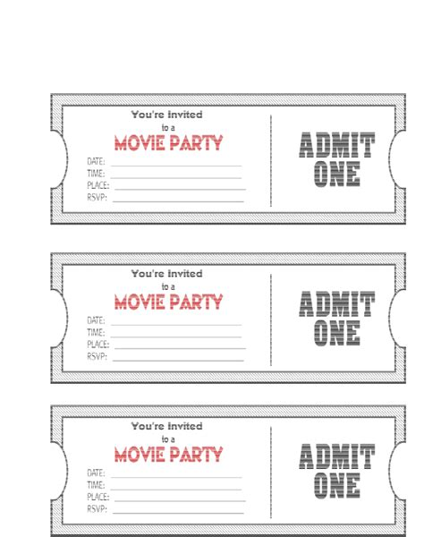 birthday invitation templates ticket 13 free printable movie ticket invitations