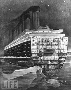 A cut away drawing depicting the Titanic hitting the ...