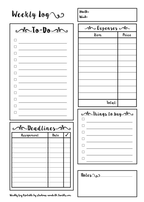 weekly planner printable tumblr