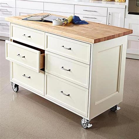rolling islands for kitchens rolling kitchen island wood magazine