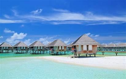 Tropical Maldives Beach Resort Summer Bungalow Nature