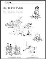 Diddle Hey Rhyme Coloring Fiddle Cat Printable Nursery Sheet Worksheet Worksheets Featuring Illustrations Student Children sketch template