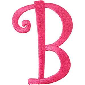 p 7187 iron on curlz letter b hot pink