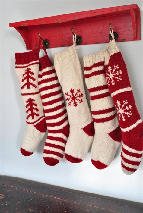 hand knit christmas stockings  traditional red
