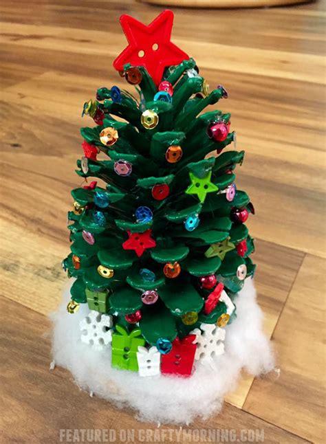 adorable pinecone christmas trees   kids craft