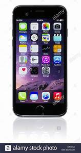 Apple Space Gray iPhone 6 showing the home screen with iOS ...