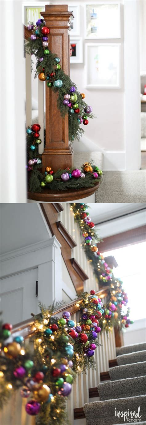 banister decor colorful ornament and pine banister garland