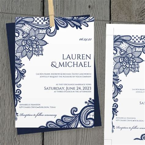 free wedding invitation templates navy blue lovely best 25