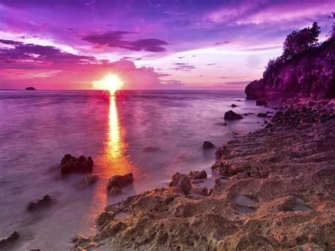 sunset   rocky beach  magenta hdr hd wallpaper