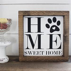 Home, Sweet, Home, Paw, Print, Hand, Painted, Wooden, Sign
