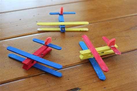 clothespin airplane craft kit makes 4 planes by 196 | il fullxfull.341847785