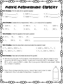 metric measurements worksheets length mass capacity