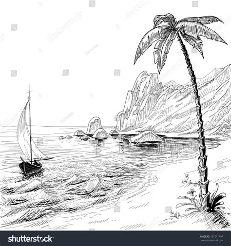 Boat On Beach Drawing by Sea Beach Boat Palm Tree Vector Stock Vector 137241497